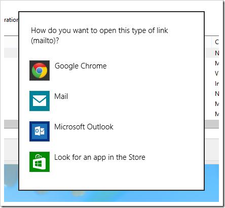 Change default mailto link in Windows 8