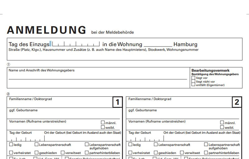 Registration of address (Anmeldung) for travelers in Germany