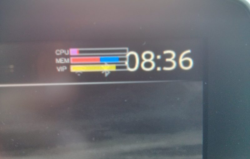 Toggle the System Monitor (CPU and memory) overlay on the Mazda Connect